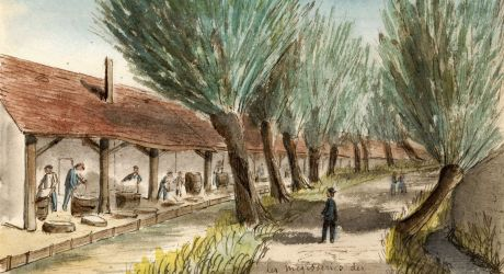 Albert Capaule (1827-1904). Les mégisseries des bords de la Bièvre à Gentilly. Aquarelle. AD94, 9FI Gentilly 2